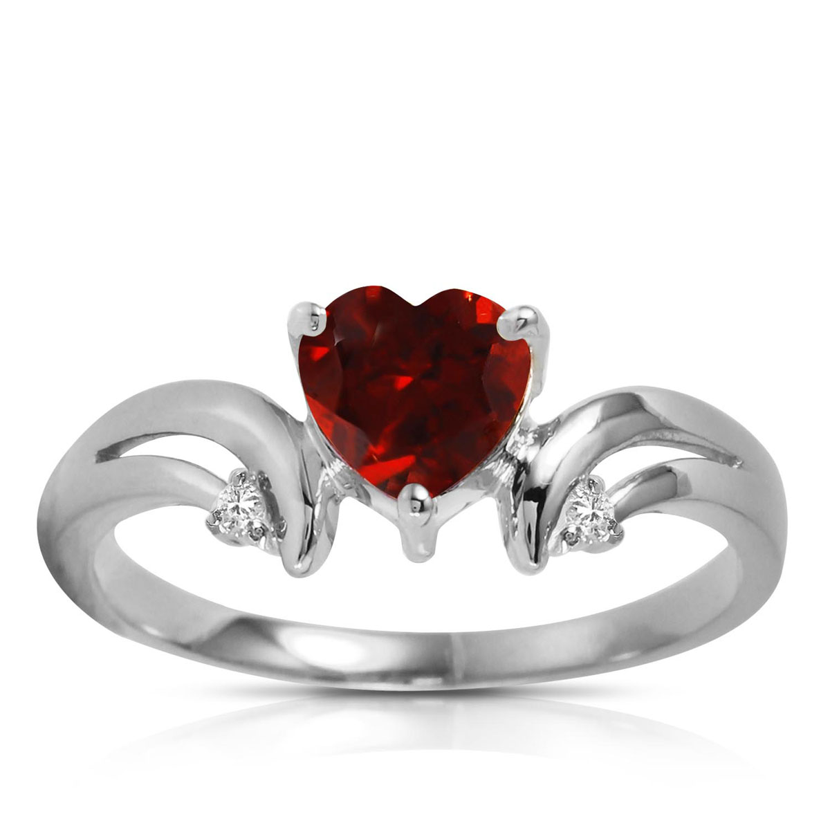Garnet & Diamond Affection Heart Ring in 9ct White Gold