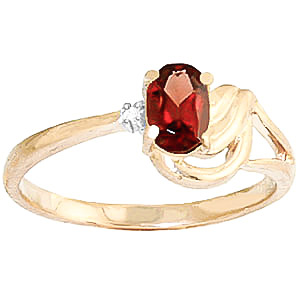 Garnet & Diamond Angel Ring in 18ct Gold