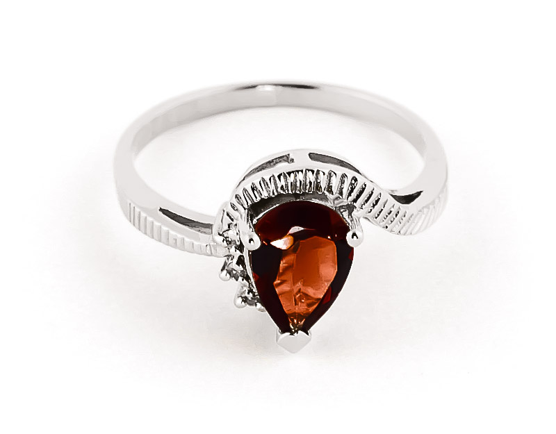 Garnet & Diamond Belle Ring in 9ct White Gold