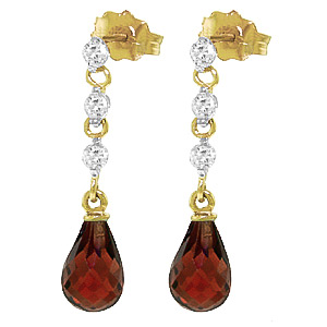 Garnet & Diamond Chain Droplet Earrings in 9ct Gold