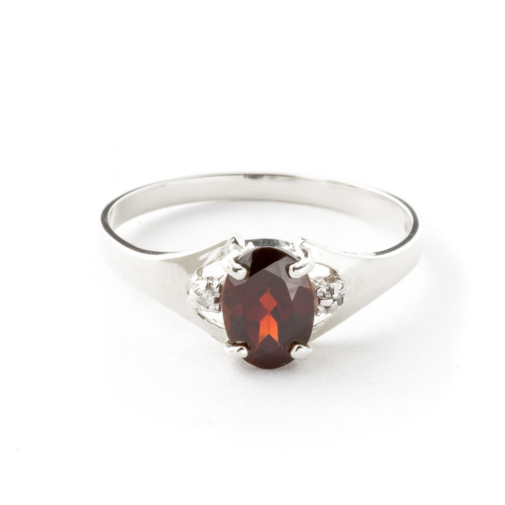 Garnet & Diamond Desire Ring in 9ct White Gold