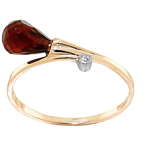 Garnet & Diamond Droplet Ring in 9ct Gold