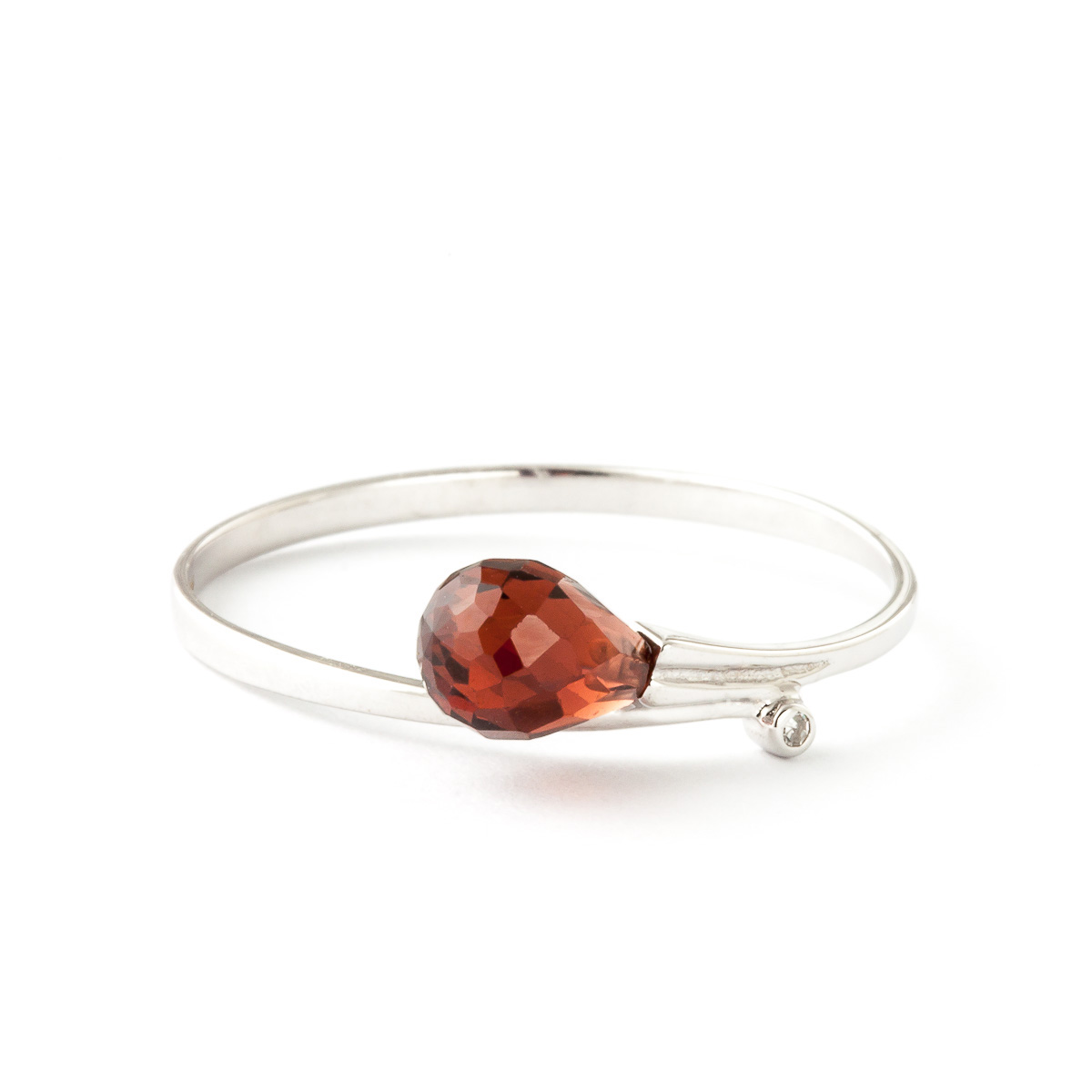Garnet & Diamond Droplet Ring in 9ct White Gold