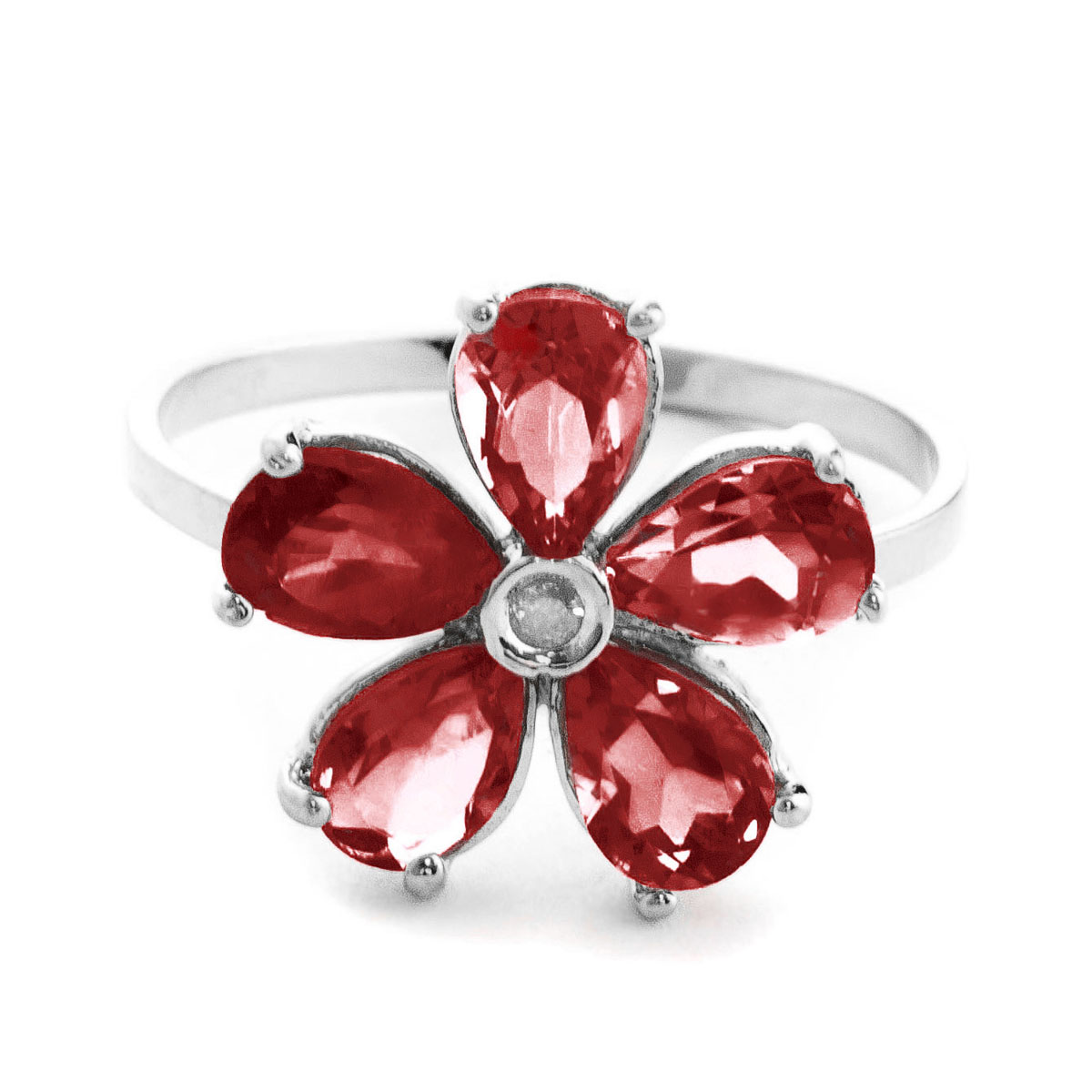Garnet & Diamond Five Petal Ring in 9ct White Gold