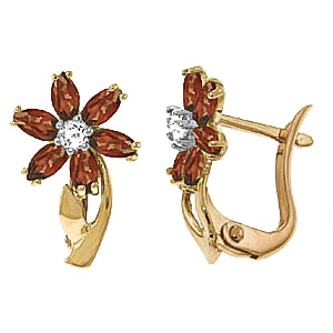 Garnet & Diamond Flower Petal Stud Earrings in 9ct Gold