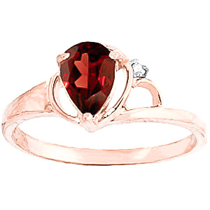 Garnet & Diamond Glow Ring in 9ct Rose Gold