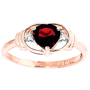 Garnet & Diamond Halo Heart Ring in 9ct Rose Gold