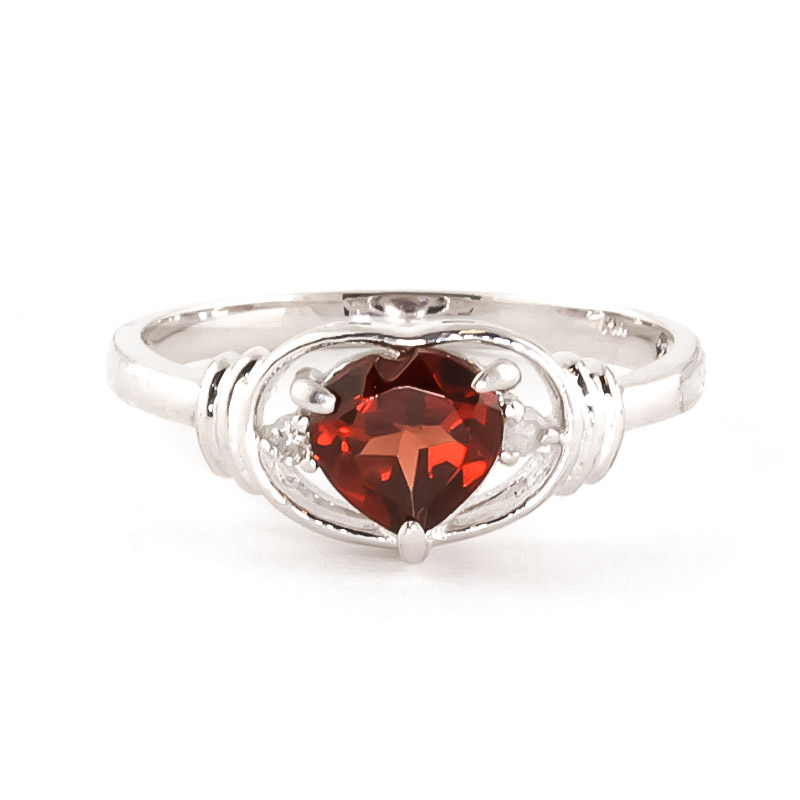 Garnet & Diamond Halo Heart Ring in 9ct White Gold