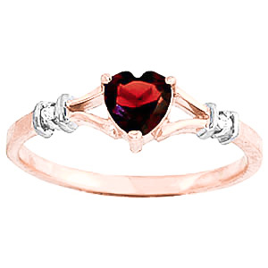 Garnet & Diamond Heart Ring in 9ct Rose Gold