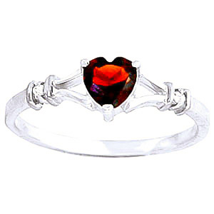 Garnet & Diamond Heart Ring in 9ct White Gold