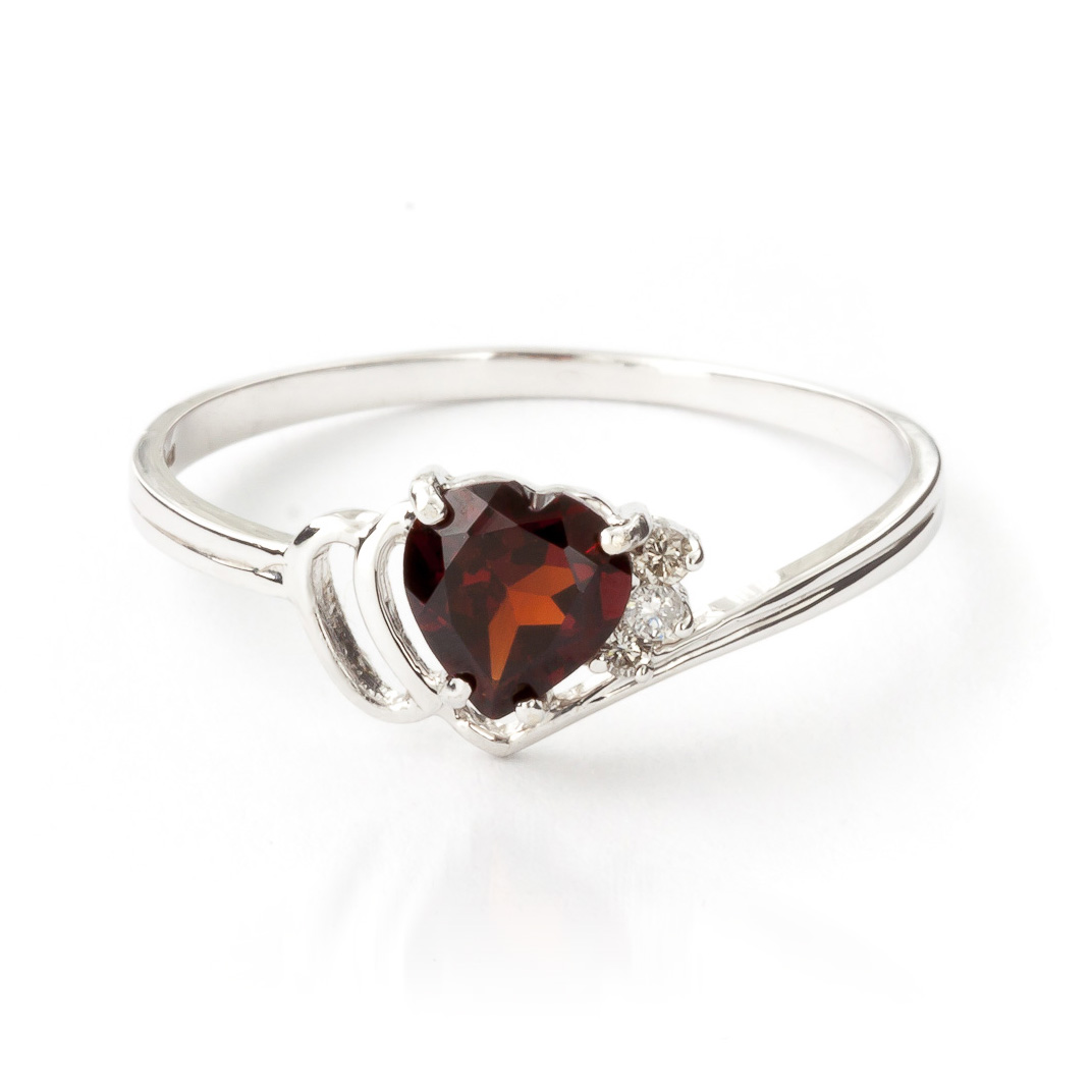 Garnet & Diamond Passion Ring in 18ct White Gold