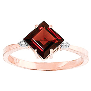 Garnet & Diamond Princess Ring in 18ct Rose Gold