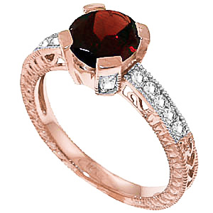 Garnet & Diamond Renaissance Ring in 9ct Rose Gold