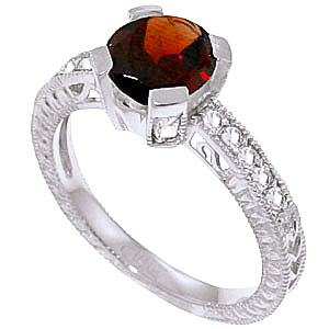 Garnet & Diamond Renaissance Ring in Sterling Silver