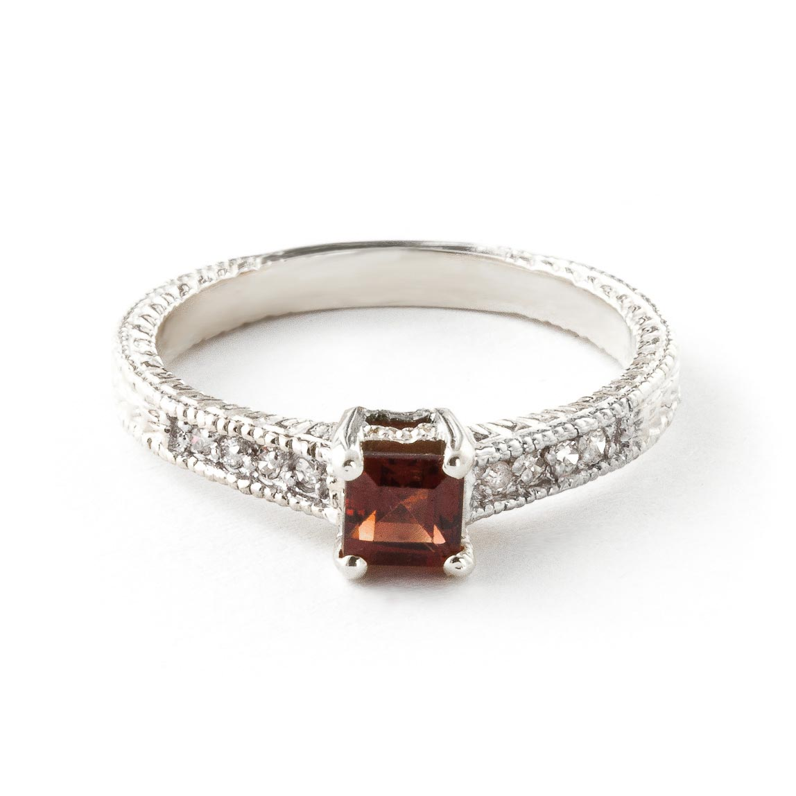 Garnet & Diamond Shoulder Set Ring in Sterling Silver