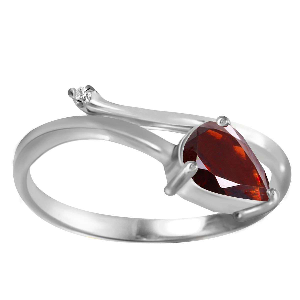 Garnet & Diamond Top & Tail Ring in 18ct White Gold