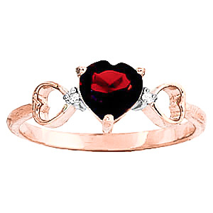 Garnet & Diamond Trinity Ring in 9ct Rose Gold