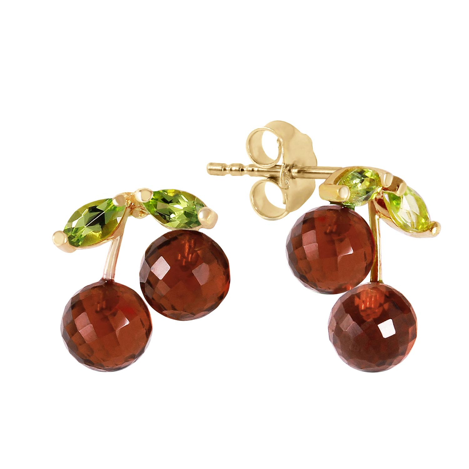 Garnet & Peridot Cherry Drop Stud Earrings in 9ct Gold