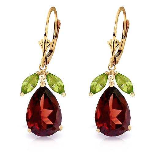 Garnet & Peridot Drop Earrings in 9ct Gold