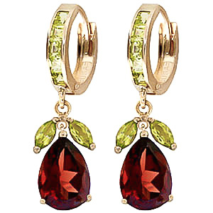 Garnet & Peridot Huggie Drop Earrings in 9ct Gold
