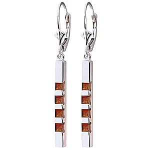 Garnet Bar Drop Earrings 0.7 ctw in 9ct White Gold