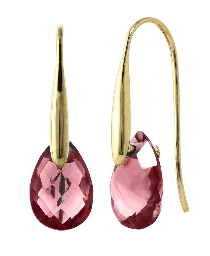 Garnet Briolette Drop Earrings 6 ctw in 9ct Gold