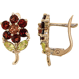 Garnet, Citrine & Peridot Flower Petal Stud Earrings in 9ct Gold