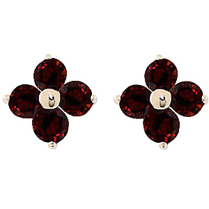 Garnet Clover Stud Earrings 1.15 ctw in 9ct Gold