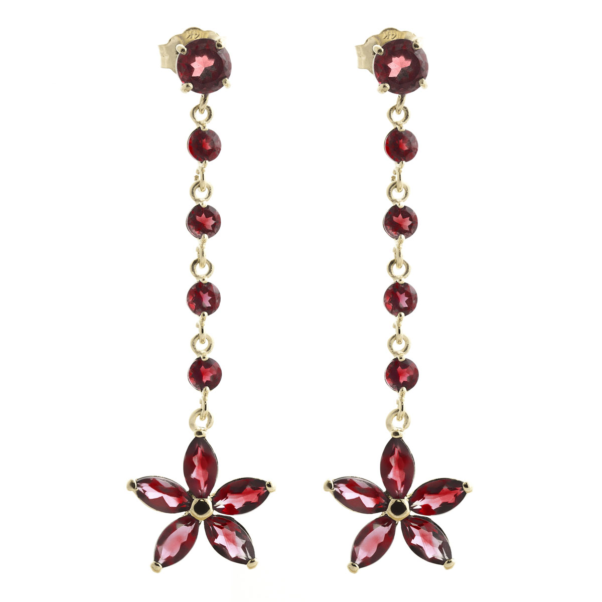 Garnet Daisy Chain Drop Earrings 4.8 ctw in 9ct Gold