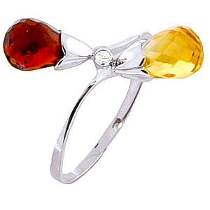Garnet, Diamond & Citrine Duo Ring in Sterling Silver