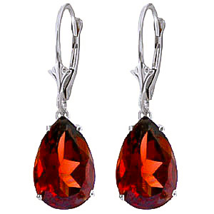 Garnet Drop Earrings 10 ctw in 9ct White Gold