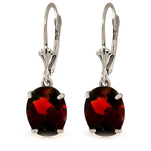 Garnet Drop Earrings 6.25 ctw in 9ct White Gold