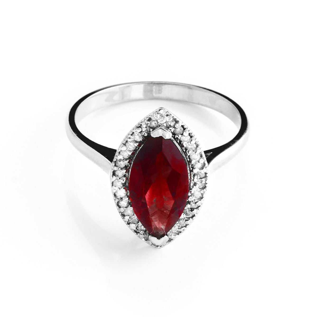 Garnet Halo Ring 2.15 ctw in 9ct White Gold