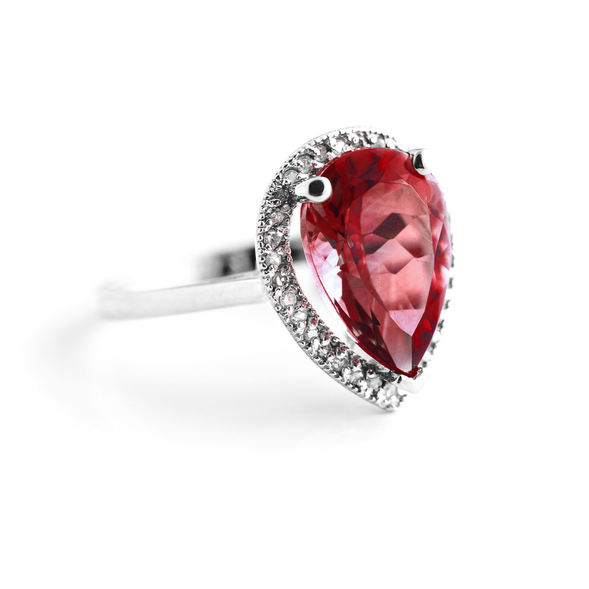 Garnet Halo Ring 4.06 ctw in 18ct White Gold