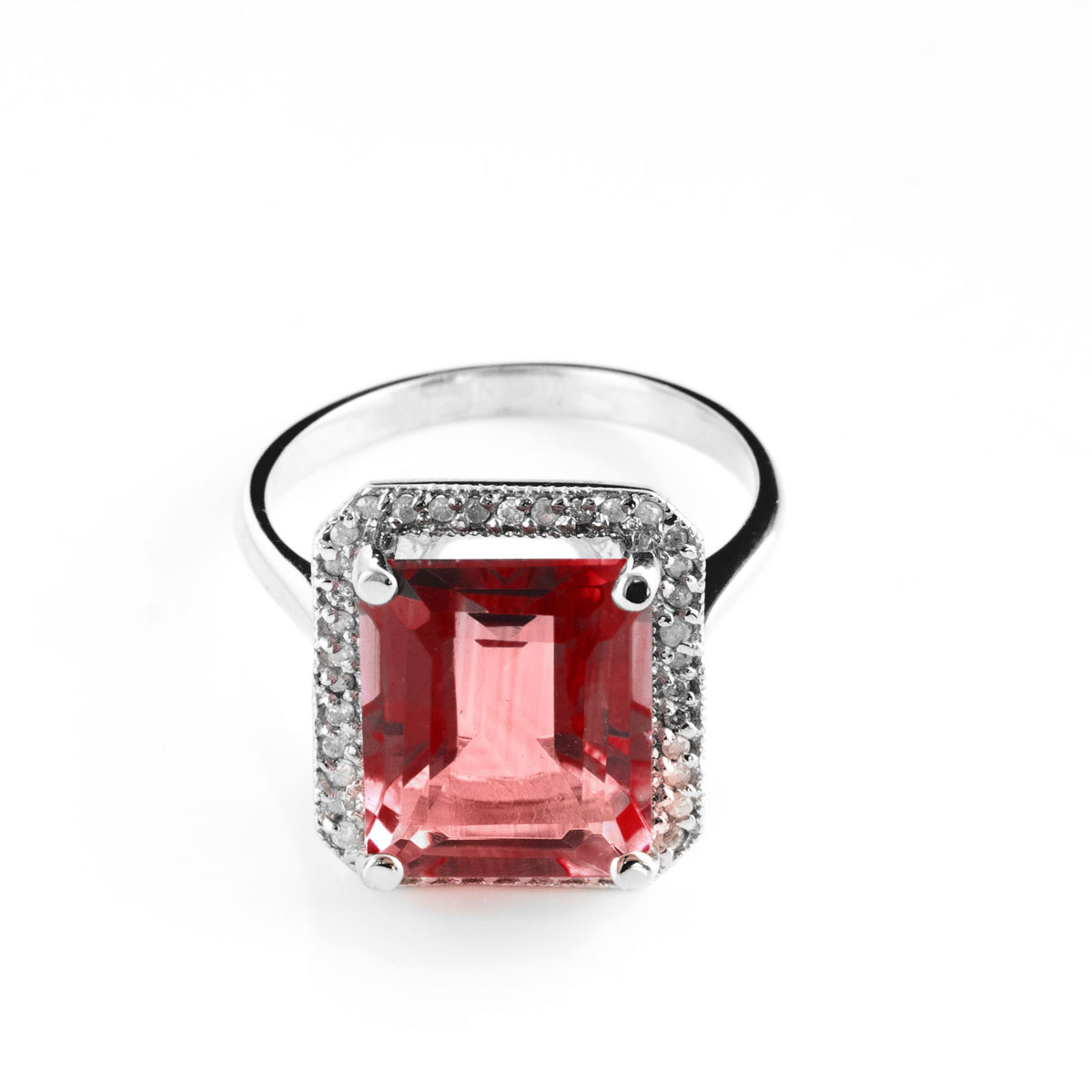 Garnet Halo Ring 7.7 ctw in 9ct White Gold