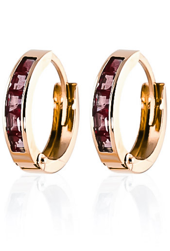 Garnet Huggie Earrings 1.3 ctw in 9ct Rose Gold
