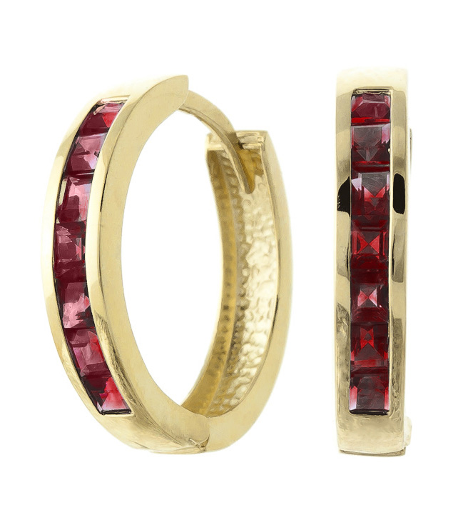 Garnet Huggie Earrings 1.85 ctw in 9ct Gold