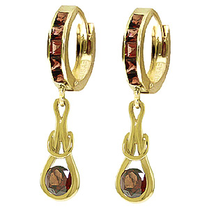 Garnet Loop Knot Huggie Earrings 1.3 ctw in 9ct Gold