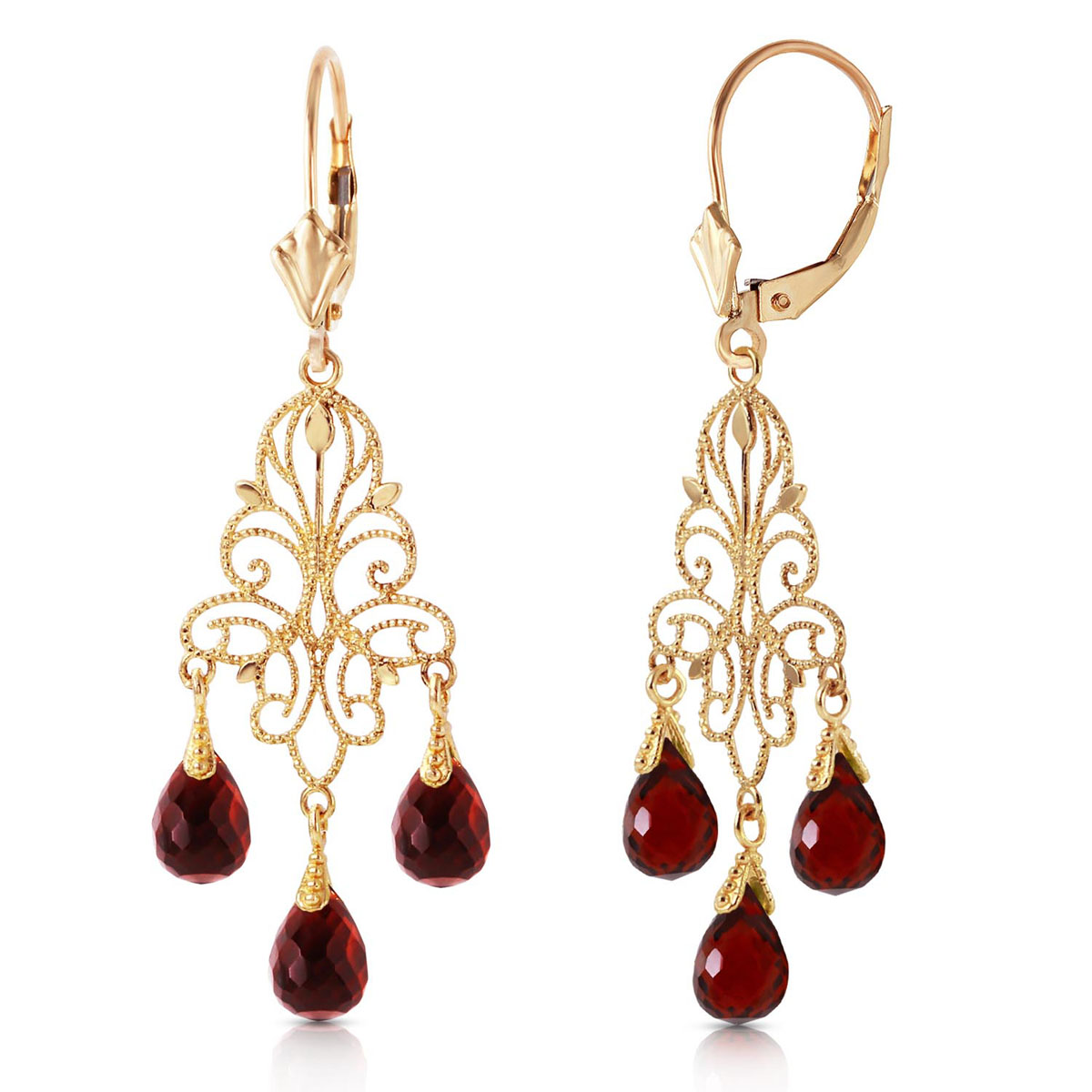 Garnet Mirage Drop Earrings 3.75 ctw in 9ct Gold