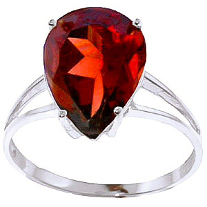 Garnet Pear Drop Ring 5 ct in 18ct White Gold