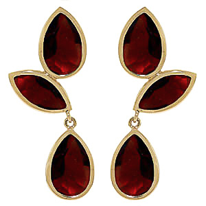 Garnet Petal Drop Earrings 13 ctw in 9ct Gold