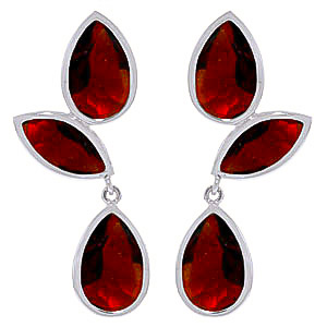 Garnet Petal Drop Earrings 13 ctw in 9ct White Gold