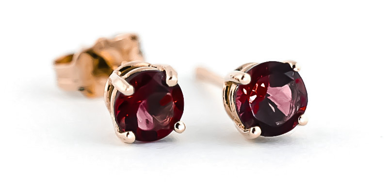 Garnet Stud Earrings 0.95 ctw in 9ct Rose Gold