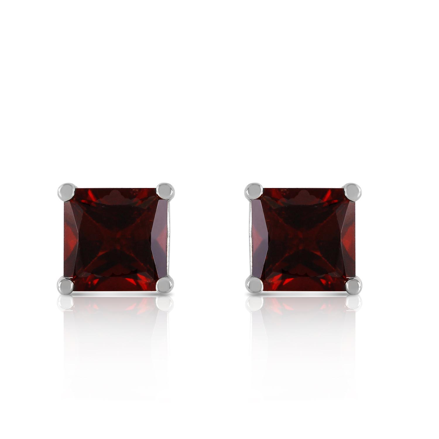 Garnet Stud Earrings 1.75 ctw in 9ct White Gold
