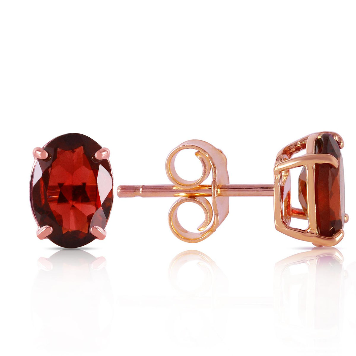 Garnet Stud Earrings 1.8 ctw in 9ct Rose Gold
