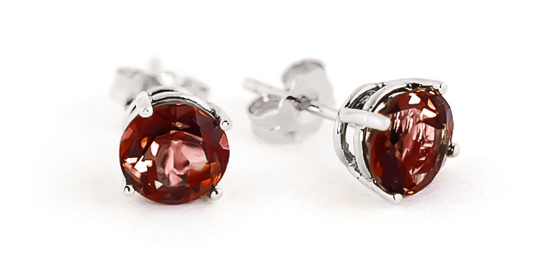 Garnet Stud Earrings 3.1 ctw in 9ct White Gold