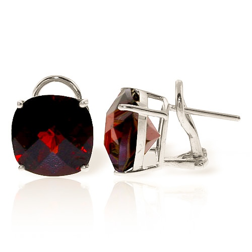 Garnet Stud Earrings 9 ctw in 9ct White Gold