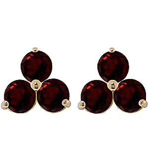 Garnet Trinity Stud Earrings 1.5 ctw in 9ct Gold