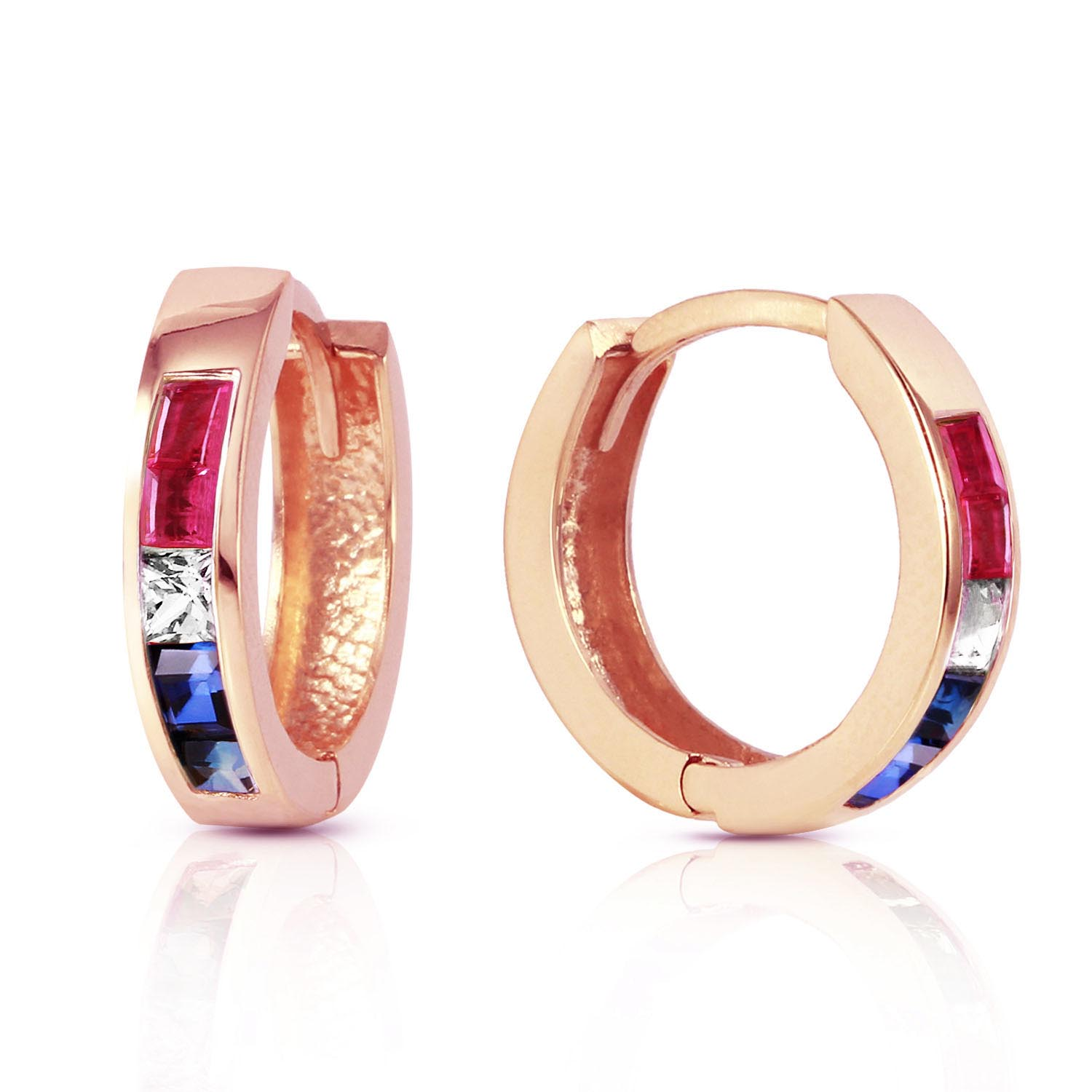 Gemstone Huggie Earrings 1.28 ctw in 9ct Rose Gold