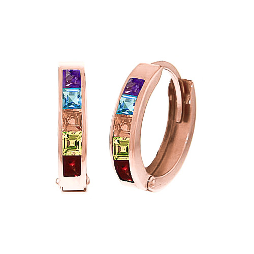 Gemstone Huggie Earrings 1 ctw in 9ct Rose Gold